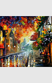 Hand-Painted Modern Street Scape Paintings One Panel Canvas Oil Painting