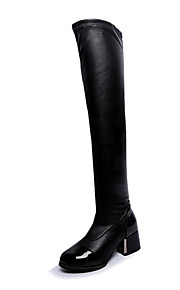 Women's Boots Fall / Winter Combat Boots PU Dress Chunky Heel Others / Zipper Black Others