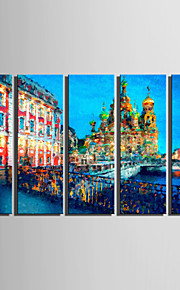 E-HOME Stretched Canvas Art Ancient City Riverside View Decoration Painting  Set Of 5