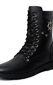 Men's Boots Spring / Fall / Winter Others PU / Fleece Outdoor / Casual Flat Heel Beading / Rivet / Studded / Lace-up BlackWalking /