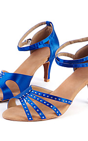 Для женщин-Сатин-Персонализируемая(Синий) -Латина / Джаз / Модерн / Сальса / Обувь для свинга
