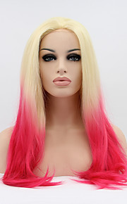 Sylvia Synthetic Lace front Wig Blonde Pink Ombre Hair Heat Resistant Long Straight Synthetic Wigs
