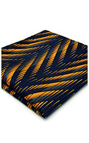 Men's Pocket Square Navy Blue Yellow Ripple Casual Business For Men Handkerchief Fashion