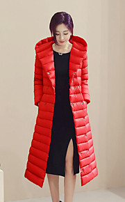 Women's Long Down Coat,Simple Plus Size / Casual/Daily Solid-Polyester White Duck Down Long Sleeve Red