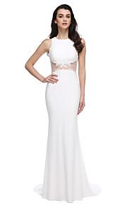 2017 ts couture® balen formell klänning trumpet / sjöjungfrun juvel svep / borste tåg jersey med applikationer