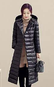 Women's Long Down Coat,Simple Plus Size / Casual/Daily Solid-Nylon White Duck Down Long Sleeve Black