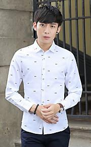 דפוס צווארון חולצה פשוטה / סגנון רחוב ליציאה / יום יומי\קז'ואל / מידות גדולות חולצה גברים,סתיו / חורף שרוול ארוך כחול / לבן דק פוליאסטר