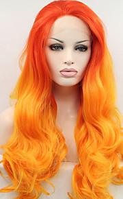 Sylvia syntetisk blonder foran parykk på brann orang gult hår ombre hår varmebestandig lang naturlig bølge syntetiske parykker