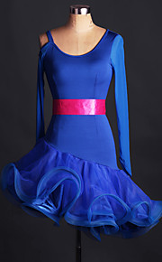 Latin Dance Dresses Performance Spandex Beading / Tassel(s) 1 Piece Sleeveless Natural Dress