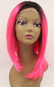 Sylvia Synthetic Lace front Wig Black Roots Pink Hair Ombre Hair Heat Resistant Middle Length Straight Synthetic Wigs