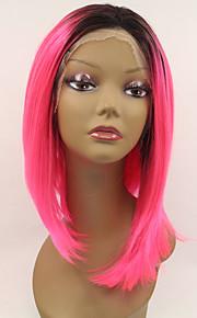 Sylvia syntetisk blonder foran parykk svarte røtter rosa hår ombre hår varmebestandig midten lengde rette syntetiske parykker