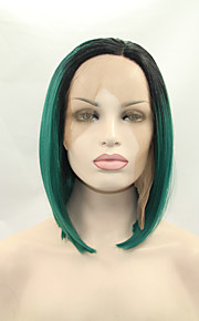 Sylvia Synthetic Lace front Wig Black Roots Green Hair Heat Resistant Middle Length Straight Bob Synthetic Wigs