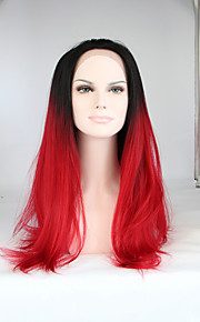 Sylvia Synthetic Lace front Wig Black Roots Red Hair Ombre Hair Heat Resistant Long Straight Synthetic Wigs