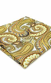 Mens Pocket Square Hanky Handkerchief For Men Yellow Paisley Business