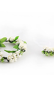 Women's Tulle / Fabric Headpiece-Wedding / Special Occasion / Casual Wreaths 2 Pieces