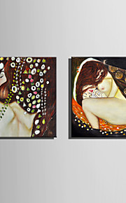 E-HOME Stretched Canvas Art Abstract Woman Decoration Painting  Set of 2