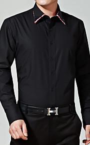 Heren Eenvoudig Lente / Winter Overhemd,Casual/Dagelijks / Nette schoenen Effen Klassieke boord Lange mouw Zwart Katoen Medium