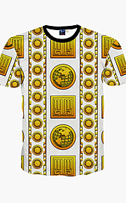 남성 프린트 라운드 넥 짧은 소매 티셔츠,심플 / 보호 / 액티브 데이트 / 비치 / 휴일 골드 폴리에스테르 봄 / 여름 중간