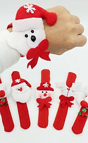 12pcs חג מולד קישוט חג מולד טבעת קופצת במעגל בד טפיחת מולד צמיד מסיבת חג המולד (סגנון אקראי)