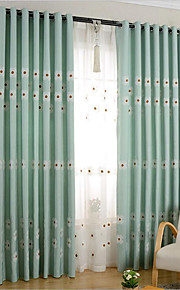 Two Panels Curtain Country , Flower Bedroom Poly / Cotton Blend Material Curtains Drapes Home Decoration For Window
