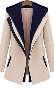 Manteau Femme,Couleur Pleine Manches Longues Beige / Noir Polyester Moyen Printemps / Automne / Hiver