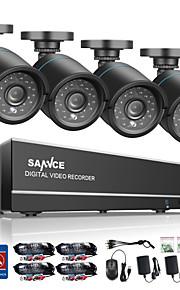 sannce 8-kanaals 4 in 1 720p hdmi ahd cctv dvr 4 stuks 1,0 mp ir outdoor security bullet camera bewakingssysteem