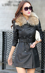 Women's Casual/Daily Simple Leather Jackets,Solid V Neck Long Sleeve Winter Red / Black Others Medium