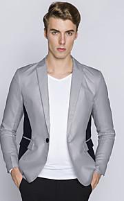 Herren Einfarbig Einfach Lässig/Alltäglich Blazer,Gekerbtes Revers Herbst Langarm Blau Weiß Schwarz Grau Baumwolle Polyester