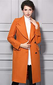 Damen Solide Street Schick Lässig/Alltäglich Trenchcoat,Winter V-Ausschnitt Langarm Orange Dick Nylon