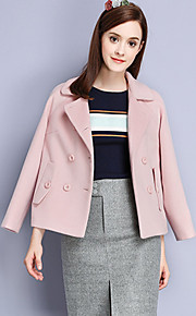 KAN F Women's Casual/Daily Simple JacketsSolid Notch Lapel Long Sleeve Fall Winter Pink Cotton Polyester