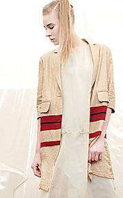 M Women's Casual/Daily Street chic CoatSolid Notch Lapel  Length Sleeve Winter Beige Linen Spandex Medium