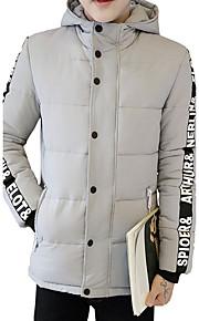 Herren Gefüttert Mantel,Standard Einfach Niedlich Street Schick Lässig/Alltäglich Urlaub Übergröße Solide Buchstabe-Baumwolle Polyester