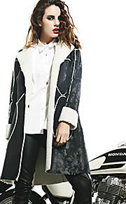 M Women's Casual/Daily Street chic JacketsSolid Notch Lapel Long Sleeve Winter Black Faux Fur Polyester Medium