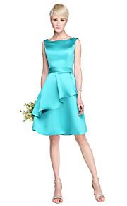 Lanting Bride® Knee-length Satin Bridesmaid Dress - A-line Off-the-shoulder Plus Size / Petite with Ruffles / Sash / Ribbon