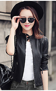 Women's Casual/Daily / Party/Cocktail / Club Street chic Leather Jackets,Solid Stand Long Sleeve Spring / Fall Black PU Medium
