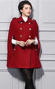 Damen Solide Street Schick Lässig/Alltäglich Trenchcoat,Winter Peter Pan-Kragen Langarm Rot Dick Nylon