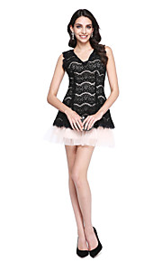 TS Couture Cocktail Party Prom Dress - Sexy Mini Me Little Black Dress A-line V-neck Short / Mini Lace Tulle with Tassel(s)