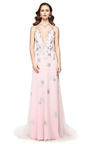 TS Couture® Formel aften Kjole - Elegant Berømmelse stil Tube / kolonne V-hals Gulvlang Tyl med Perler Plissé