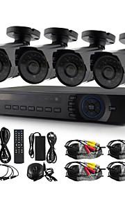 yanse® 4ch 720p 1200tvl cctv camera dvr kit ir waterdicht beveiligingssysteem 1.0MP 3.6mm ahd-m