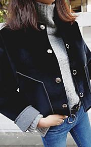 Women's Casual/Daily Active Jackets,Solid Shirt Collar Long Sleeve Winter Black Cotton Medium