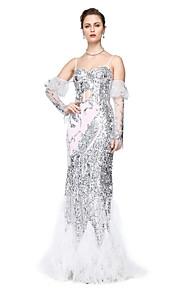 TS Couture® Formel aften Kjole - Glitrende Tube / kolonne Spaghettistropper Gulvlang Tyl Pailletter med Paillette Plissé