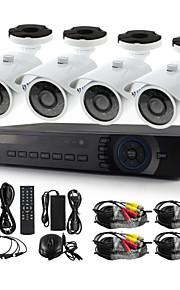yanse® 4ch 720p 1200tvl bedrade CCTV-camera dvr kit ir waterdichte beveiligingscamera's systeem 1.0MP ahd