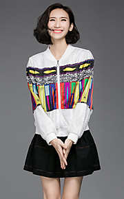 Women's Going out Casual/Daily Sports Vintage Coat,Print Patchwork Stand Long Sleeve Spring Fall White Black Polyester Medium