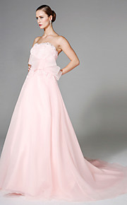 Lanting Bride® Trapèze Robe de Mariage  - Chic & Moderne Dos ouvert Traîne Tribunal Sans Bretelles Organza avecAppliques Noeud Ceinture /