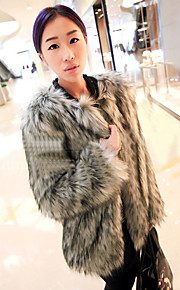 Women's Casual/Daily Simple Fur Coat,Solid Round Neck Long Sleeve Winter White Black Gray Special Fur Types Thick