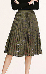 Women's Swing Solid Tulle Patchwork Lace Hollow Out SkirtsGoing out Holiday Simple Street chic High Rise Knee-length Elasticity Micro-elasticSpring
