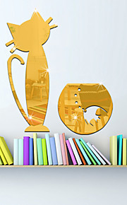 3D Wall Stickers Wall Decals Style Cute Kitty Mirror Wall Stickers