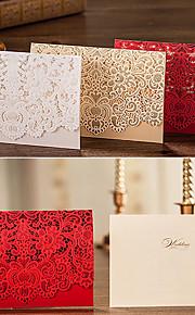Personalisert Topp Fold Bryllupsinvitasjoner Invitasjonskort-50 Stykke/Sett Blomster stil Kort Papir Blomster
