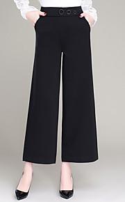 Damen Übergrössen Schlank Breites Bein Chinos Hose-Lässig/Alltäglich Arbeit Einfach Niedlich einfarbig Perlenbesetzt Hohe Hüfthöhe