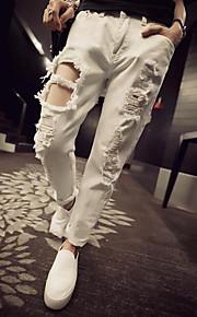 Damen Gerade Jeans Hose-Lässig/Alltäglich Einfach einfarbig Ripped Hohe Hüfthöhe Knopf Polyester Unelastisch Riemengurte Herbst